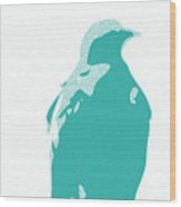 Abstract Eagle Contours Cyan Wood Print