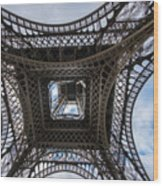 Abstract Eiffel Tower Looking Up Wood Print