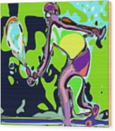 Abstract Female Tennis Player 2 Wood Print