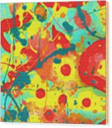 Abstract Floral Fantasy Panel A Wood Print