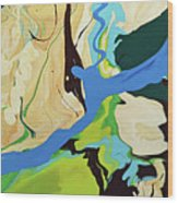 Abstract Flow Green-blue Series No.2 Wood Print