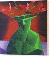 Abstract Flower Vase Prism Acrylic Painting Wood Print by Mark Webster