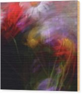 Abstract Flowers One Wood Print