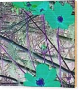 Abstract Flowrs In Green And Blue Wood Print
