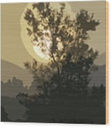 Abstract Foggy Sunrise Wood Print