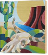 Abstract Futurist Soutwestern Desert Landscape Oil Painting  Wood Print by Mark Webster