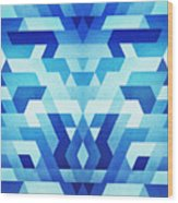 Abstract Geometric Triangle Pattern Futuristic Future Symmetry In Ice Blue Wood Print