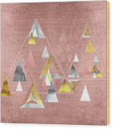 Abstract Geometric Triangles, Gold, Silver Rose Gold Wood Print