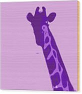 Abstract Giraffe Contours Purple Wood Print