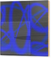 Abstract Graffitis In Blue Wood Print