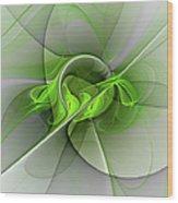 Abstract Green Fractal Art Wood Print