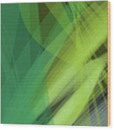 Abstract Green Vector Background Banner, Transparent Wave Lines  Wood Print