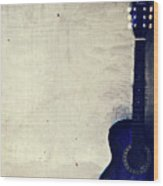 Abstract Guitar In The Foreground Close Up On Watercolor Painting Background. Wood Print