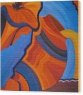 Abstract In Orange And Blue Wood Print