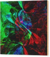 Abstract In Red And Green Wood Print