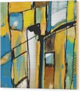Abstract In Yellow And Blue Wood Print