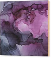 Abstract Ink Painting Plum Pink Ethereal Wood Print