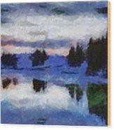 Abstract Invernal River Wood Print