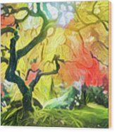 Abstract Japanese Maple Tree 5 Wood Print