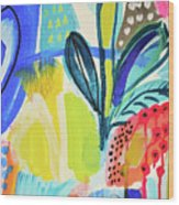 Abstract Jungle And Wild Flowers Wood Print