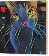 Abstract Kitty Wood Print