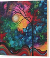 Abstract Landscape Bold Colorful Painting Wood Print by Megan Duncanson