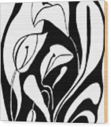 Abstract Lilies Wood Print