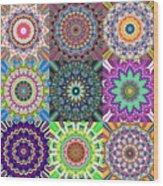 Abstract Mandala Collage Wood Print