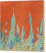 Abstract Mirage Cityscape In Orange Wood Print