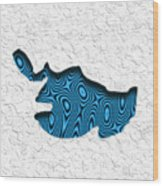 Abstract Monster Cut-out Series - Blue Swimmer Wood Print