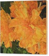 Abstract Motif By Yellow Daffodils Wood Print