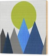Abstract Mountains And Sun Wood Print