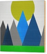 Abstract Mountains Landscape Wood Print