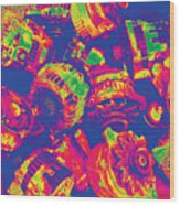 Abstract Multi-colors Metal Junk Wood Print