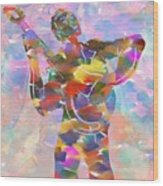 Abstract Musican Guitarist Wood Print