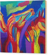Abstract Mustangs Wood Print