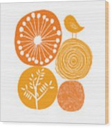 Abstract Nature Orange Wood Print