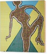 Abstract Nude Ebony In Heels Wood Print