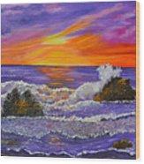 Abstract Ocean- Oil Painting- Puple Mist- Seascape Painting Wood Print