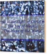 Abstract Of Blue Lights Text Wood Print