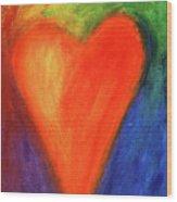 Abstract Orange Heart 1 Wood Print