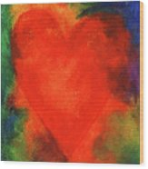 Abstract Orange Heart 2 Wood Print