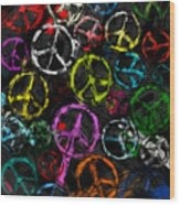 Abstract Peace Signs Collage Wood Print