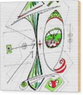 Abstract Pen Drawing Seventy-six Wood Print