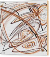 Abstract Pen Drawing Ten Wood Print