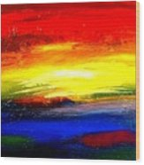 Abstract Rainbow And Sunset Wood Print