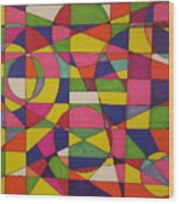 Abstract Rainbow Of Color Wood Print