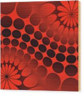 Abstract Red And Black Ornament Wood Print