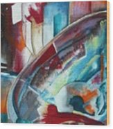 Abstract Red And Blue A Wood Print