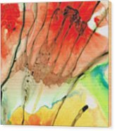 Abstract Red Art - The Promise - Sharon Cummings Wood Print